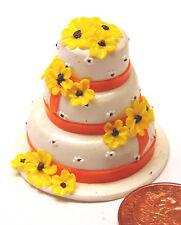 1:12 Blanco Rosa Y Amarillo 3 Niveles Pastel De Bodas Casa de muñecas en miniatura accesorios Zn