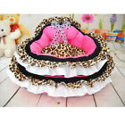 Pink Leopard Prince Princess Cute Lace Soft Bow Pet Beds Dog Puppy Cat Bed