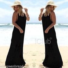 Women's Black Maxi Long Black Summer Beach Dress Lace Sleeveless Sundress 8-10