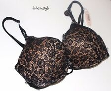 VICTORIA'S SECRET SEXY FISHNET LACE BOMBSHELL PLUNGE ADDS 2 CUP PADDED BRA 34D ~