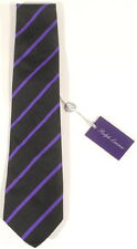 Purple Label Ralph Lauren Hand Made in Italy Black w/ Purple Stripe Tie $215 A3F