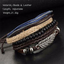 Fashion Women/Men Surfer Tribal Wrap Multilayer Leather Cuff Bangle Bracelet New