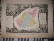 SUPERB ANTIQUE 1856 ALPES DE HAUTE PROVENCE DIGNE LEVASSEUR MAP WINE FOOD ART NR