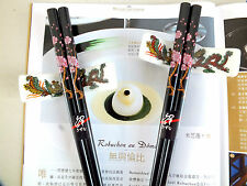 2 JAPANESE PINK BLOSSOM BLACK CHOPSTICKS 2 CERAMIC STAND CHINESE NEW YEAR PARTY