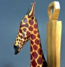 Hand Carved Giraffe African  Kenya Wooden Wall Hook Sconce 12 inches 30.5 cm