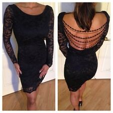 Bodycon Black/Black Lace Long Sleeve Party Dress w/ low cut back & bead detail S
