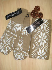 Pia Rossini Aspen Mitten & Headband Set Camel/White Xmas Ladies Gift BNWT