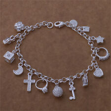New Elegant Women Silver Plated 13 Charm pendant Beautiful Bracelet Jewelry Gift