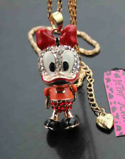 582R   Betsey Johnson Crystal Enamel Lovely duck Pendant Sweater Chain Necklace
