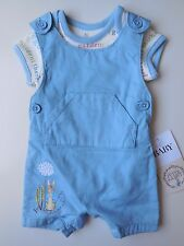 'PETER RABBIT' BABY BOY ROMPER + OVERALLS DUNGAREES SIZE 0000 NEWBORN *NEW
