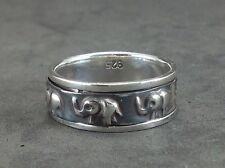 Mens Womens Elephant Spinner Sterling Silver 925 Oxidized Jewelry Ring 7 8 9 10
