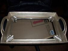 GOLD COLORED MIRROR CANDLE TRAY WITH LEAF DESIGN HOME ACCENT TABLE DECOR