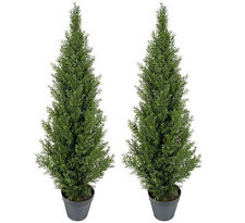 2 Artificial 4' Cedar Topiary Potted Tree In Outdoor Arrangement Patio Decor 014