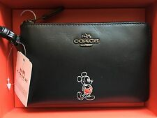 NWT Disney X Coach Mickey Mouse Black Leather Corner Zip Wristlet Small Clutch