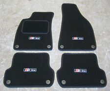 Car Mats in Black to fit Audi A4 LHD (B6+B7 01-08) + S-Line Logos (x4) + Fixings
