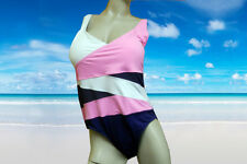 NWT ANNE COLE navy blue, pink and white BATHING SUIT SWIMSUIT sz- 18w