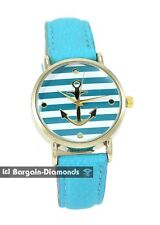 ladies navy light blue anchor gold tone casual fashion watch leather nautical