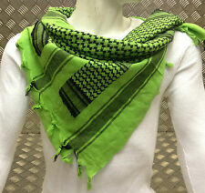 100% Cotton Shemagh / Arab Scarf / Pashmina / Wrap / Sarong. Lime & Black - NEW