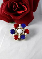 Vintage Red White & Blue Patriotic USA  Pin Brooch  CAT RESCUE
