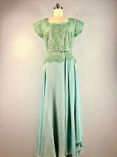 True Vintage Andora Sage Green Silk Chiffon Dress Gown 1950s Formal 44 Bust