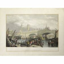 King William IV Opens New London Bridge Antique Engraving after Stanfield 1831