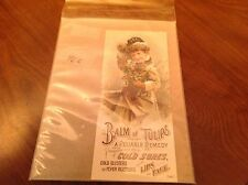 VICTORIAN TRADE CARD - BALM of TULIPS COLD SORE REMEDY - GIRL IN SNOW STORM