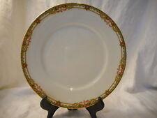 Vintage Dinner Plate Union Ceramique, Limoges France, Pink Roses, Filigree, Gold