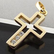 A039 GENUINE REAL 18CT YELLOW G/F GOLD DIAMOND SIMULATED CRUSIFIX CROSS PENDANT