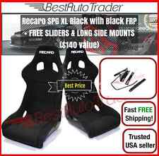 RECARO SPG POLE XL BLACK PAIR Fixed Back Bucket Racing 2 Seats + 2 FREE SLIDERS*