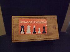 VINTAGE W H Smiths in legno scacchi pezzi in cassetta di legno completo di bosso CHESSMEN