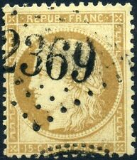 FRANCE CERES N° 59 OBLITÉRATION GC 2369 MIREBEL JURA AMORCE CACHET PERLE