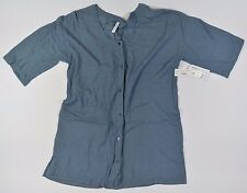 RVCA CIGGY Womens Button Front Cotton Caftan Blouse Small Blue Mirage NEW