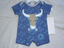Boys BLUE Western Cowboy Onesie BULL with Cowboy Boots Sz 6 M 100% Cotton NWT