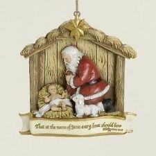 Joseph Studio KNEELING SANTA Baby Jesus Christmas Ornament, by Roman 39546