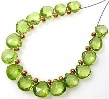 14 GENUINE GEMSTONE GREEN PERIDOT FACETED HEART BRIOLETTE BEADS  6-6.5 mm  P1