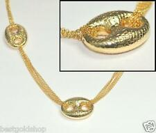 "32"" Technibond Anchor Mariner Cable Chain Necklace 14K Yellow Gold Clad Silver"