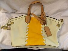ORYANY Pebble Leather Crossbody Handbag Yellow Tan Cream Double Handles