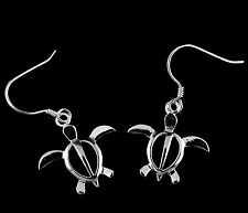 18MM STERLING SILVER 925 SHINY HAWAIIAN HONU TURTLE DANGLING EARRINGS WIRE HOOK