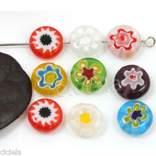 50Pcs Mixed Color Flat Shape Millefiori Glass Beads Loose Space Beads Charms 6mm