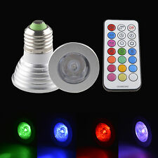 E27 E26 Screw Base 16 Color Changing 3W 4W RGB LED Light Bulb Lamp + IR Remote