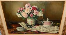 OLD OIL ON CANVAS FLORAL VASE TABLE SETTING PAINTING SIGNED