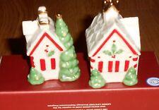 Lenox Christmas GINGERBREAD HOUSES Salt & Pepper SHAKERS 2004 Retired MIB Gift