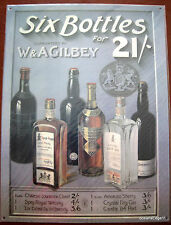 Gilbey Liquor SIX BOTTLES Print Ad Steel Sign Wall Art,Whiskey,Gin,Brandy,Port