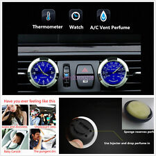 1 Set Car A/C Vent Clock + Thermometer Kit Freshener Perfume Storage Reservoir