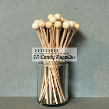 100 Wooden Lollipop Sticks, Rock Candy Sticks, Ball End Lollipop Sticks - 6""