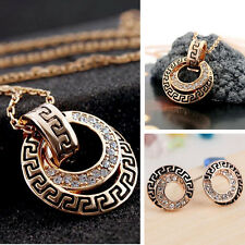 Hot Fashion Women Sweet Crystal Rhinestone Pendant Necklace Earrings Jewelry Set