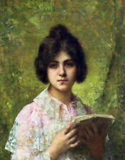 Oil Alexei Alexeivich Harlamoff Russian artist - Young Girl Holding a Book art