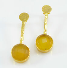 OttomanGems semi precious gemstone earrings gold plated Chalcedony handmade