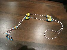 "Vintage OLD African Trade Venitian Millefiori Bead Coral  Necklace 29"" Long"
