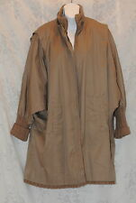Fox Run Flannel Lined Sweater Cuffs Jacket Overcoat Trench Coat Vtg Womens AS IS